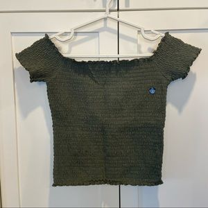 NWT Hollister Off-the-Shoulder Green Stretchy Top